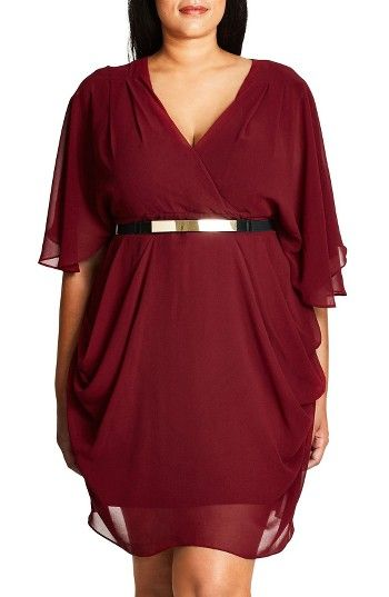 Free shipping and returns on City Chic Belted Chiffon Faux Wrap Dress (Plus Size) at Nordstrom.com. Rich ruby color soaks a floaty chiffon dress that flatters your curves with a surplice bodice, draped skirt and belted waist. The fluttery batwing sleeves are sheer for peekaboo contrast.