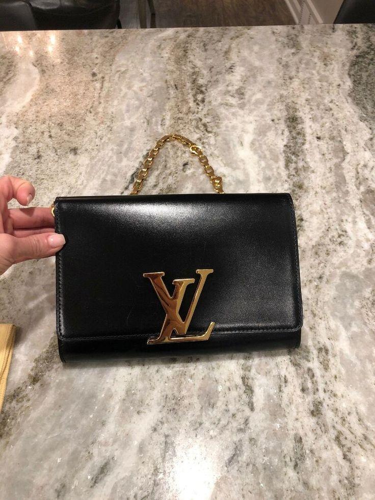 Authentic louis vuitton chain louise black leather bag