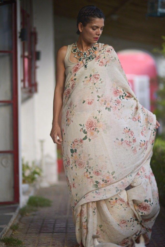 Tirsuli, Organic Handloom Linen Saree in Vintage Floral Print