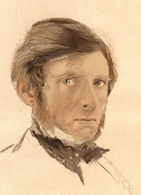 John Ruskin, Self-portrait, Watercolor, Source: Frontispiece, Works, XVII.
