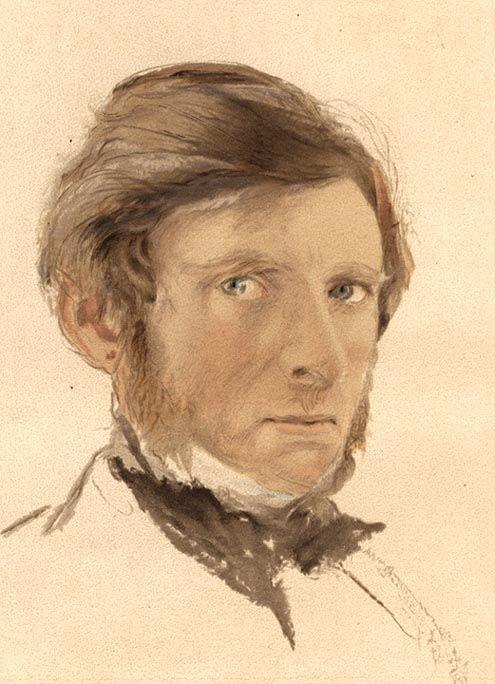 John Ruskin, Self-portrait, Watercolor, Source: Frontispiece, Works, XVII.
