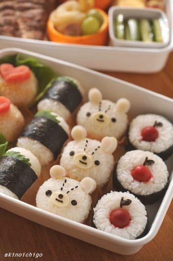 Cawaii onigiri (rice ball). bento. 「akinoichigoの楽チン!おにぎりキャラのおべんとう」 わくわくキャラクター弁当: