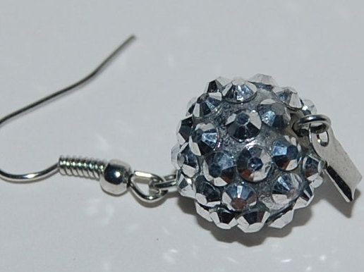 Sparkling drop earrings rhinestone ball drop upcycled by silverwireandgems on Etsy