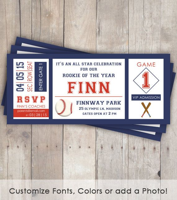Baseball Birthday Invitations - Baseball Ticket - baseball birthday party - Rookie Year - print your own on Etsy, $15.00