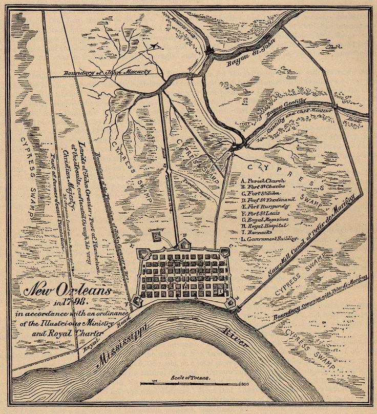 Old colonial map of New Orleans, when it was just the French Quarter, in 1798.  The city was founded around 1720, though Europeans had lived there since the 1600's.  Of course, the modern city speads around and beyond all the land shown here.