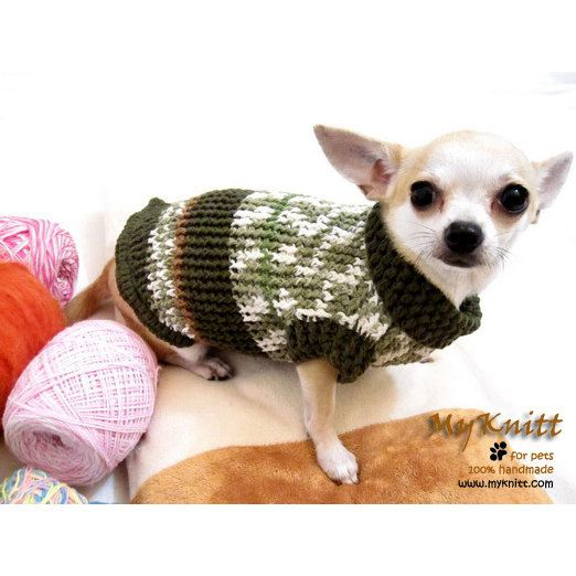 Knitting Patterns For Extra Small Dogs : Knit Chihuahua Sweater Extra Small Dog Clothes Cotton Puppy Clothing Unique G...