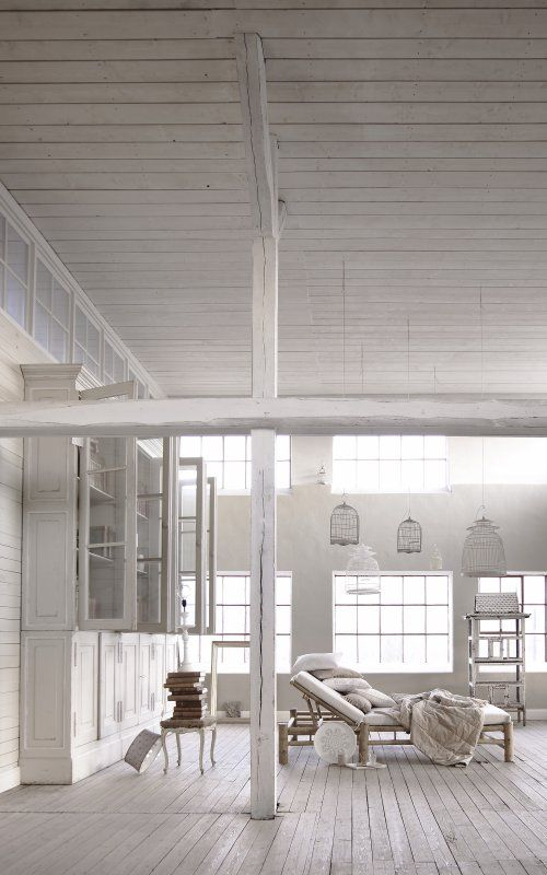 : Decor, Interior Design, Spaces, Dream, Living Room, Loft, White Interiors, White Room