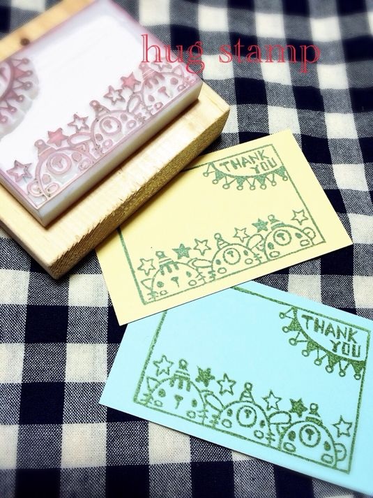 Bear! Rabbit! Cat! memo frame rubber stamp