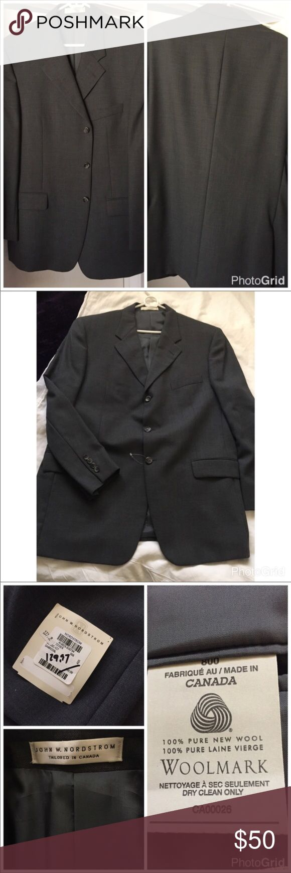 Men's Sports Coat Classic 3 button closure sports coat. Color is  charcoal NWT. 100% pure new wool see pic of tags. Fully lined with inside pockets. Outside pockets unstitched. A little thread out of place see last picture. Overall a very nice jacket. Please lmk if you need measurements. 😍 Tailored In Canada 🇨🇦 John W. Nordstrom Suits & Blazers Sport Coats & Blazers