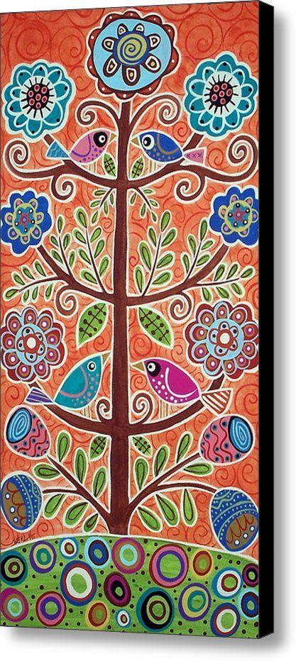 4 Tree Birds Canvas Print / Canvas Art By Karla Gerard
