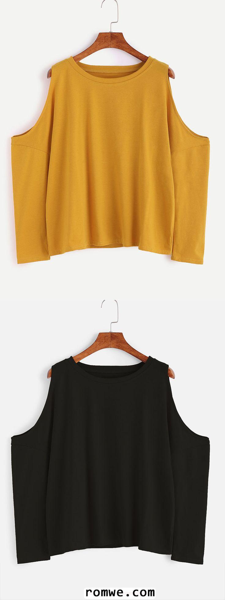 Open Shoulder Loose T-shirt