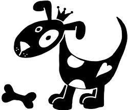 Michas Stoffecke - Velours-Motiv - Hund mit Knochen anthrazit A-VJP-013-Y