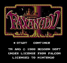 Faxanadu title screenshot