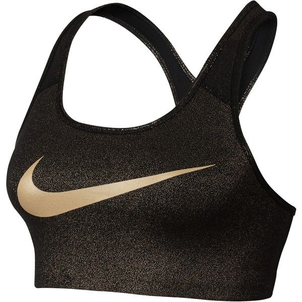Nike Pro Classic Swoosh Sports Bra, Black/Gold ($37) ❤ liked on Polyvore featuring activewear, sports bras, nike sports bra, nike sportswear, nike, tail activewear and yoga activewear