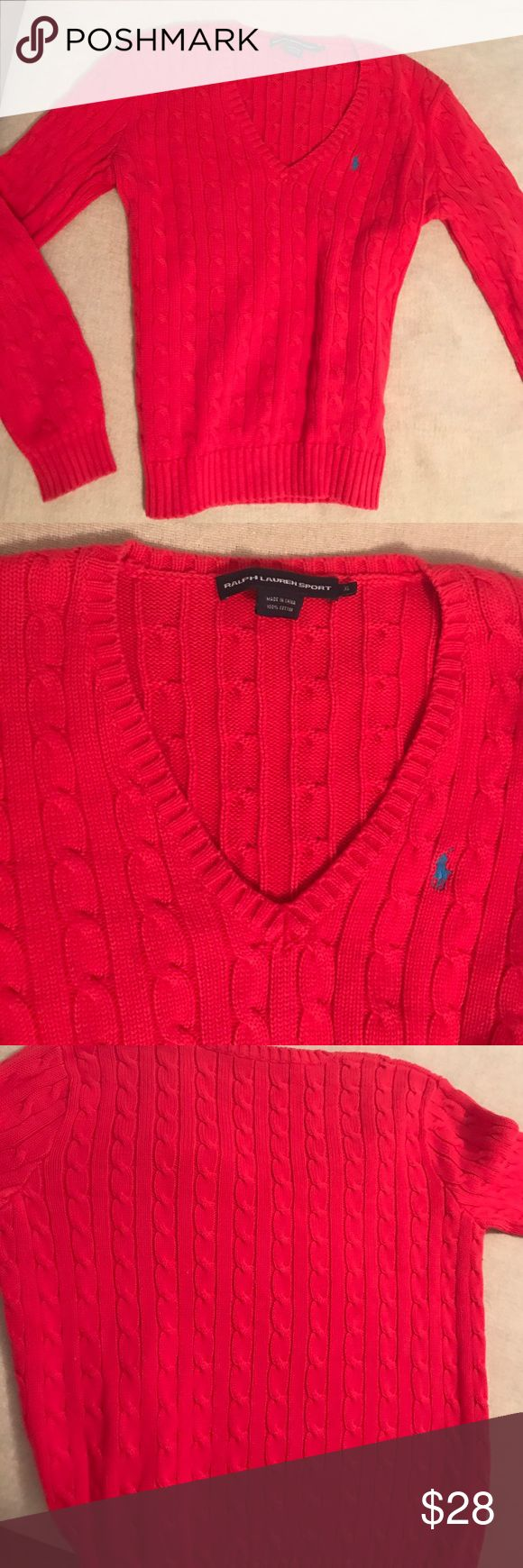 Ralph Lauren polo cable knit sweater(read below)! Ralph Lauren bright dk pink cable knit sweater, fits like a medium although ITS A XL but I REPEAT ITS DEF FITS LIKE A MEDIUM-LARGE! I bought for the xl and it doesn't fit me like an xl! Other then that in great condition! Great sweater for a dress down day or with sweats Ralph Lauren Sweaters