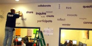Word Wall -- Great idea for a library or classroom!