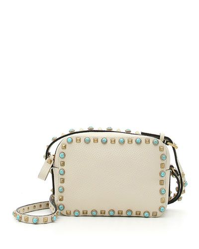 VALENTINO Rockstud Turquoise-Studded Camera Crossbody Bag, Ivory. #valentino #bags #shoulder bags #leather #crossbody