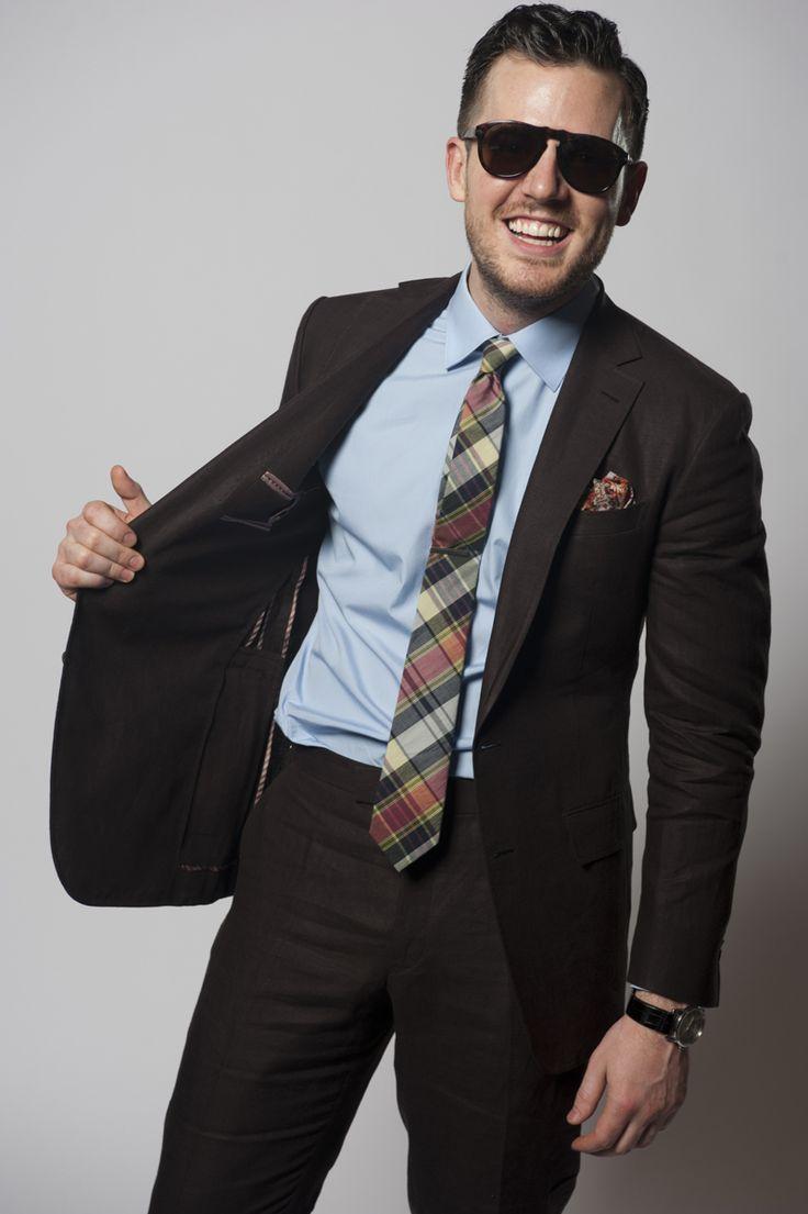 Men's Dark Brown Suit, Light Blue Dress Shirt, Green Plaid ...