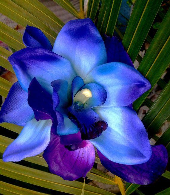BRIDAL HAIR CLIP-Hawaiian Orchids, Maui Blue, Purple, Exotic Hair Clip, Beach Bride, Fascinator, Flower Headpiece, Wedding Hair Accessory on Etsy, $34.99