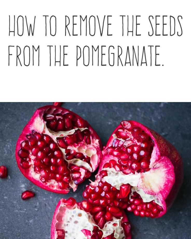 How to remove the seeds from the pomegranate. | Separate the halves of pomegranate and whack on the back with a wooden spoon until the seeds fall out. | More cooking tips and hacks https://happyforks.com/hack/298