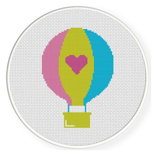 INSTANT DOWNLOAD Stitch Hot Air Balloon Hearts PDF Cross Stitch Pattern Needlecraft
