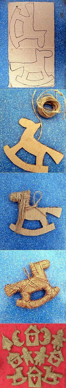 Ёлочные игрушки из шпагата. Не бьются, не ломаются, золотом переливаются )).