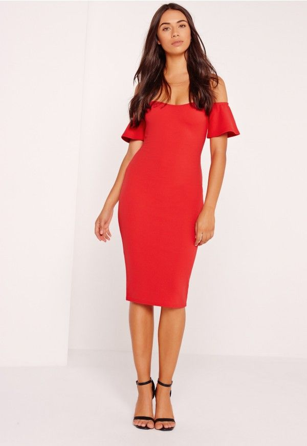 Bardot dresses are what every Missguided girls wardrobe is craving this season! In a standout shade of red, our fave figure flattering bodycon fit and frill detailing, this midi dress is perfect! Pair with some barely there heels and let yo...