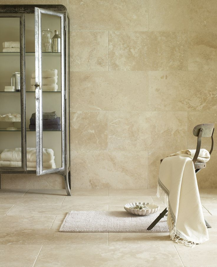 Corinth Tumbled Travertine. A beautifully subtle natural stone tile for walls and floor and with plenty of character.