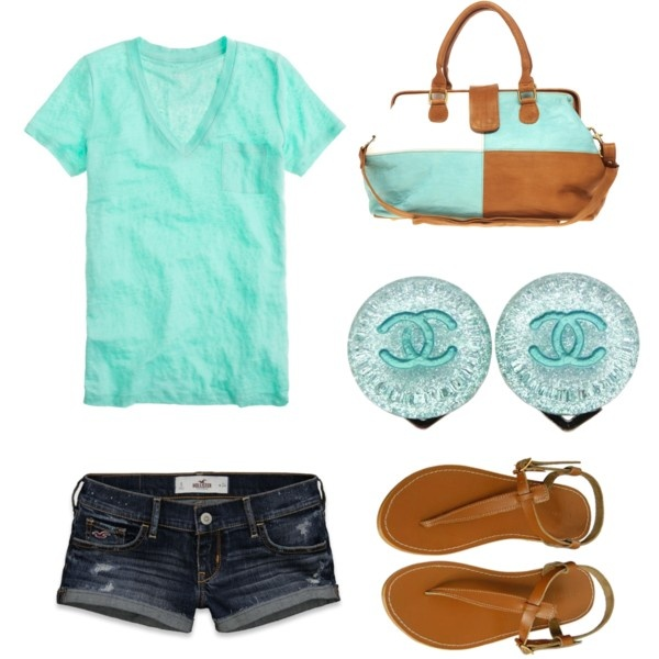 Fashion, Casual Summer, Outfit Ideas, Summer Outfit, Blue, Colors, Coastal Style, Shorts, T Shirts