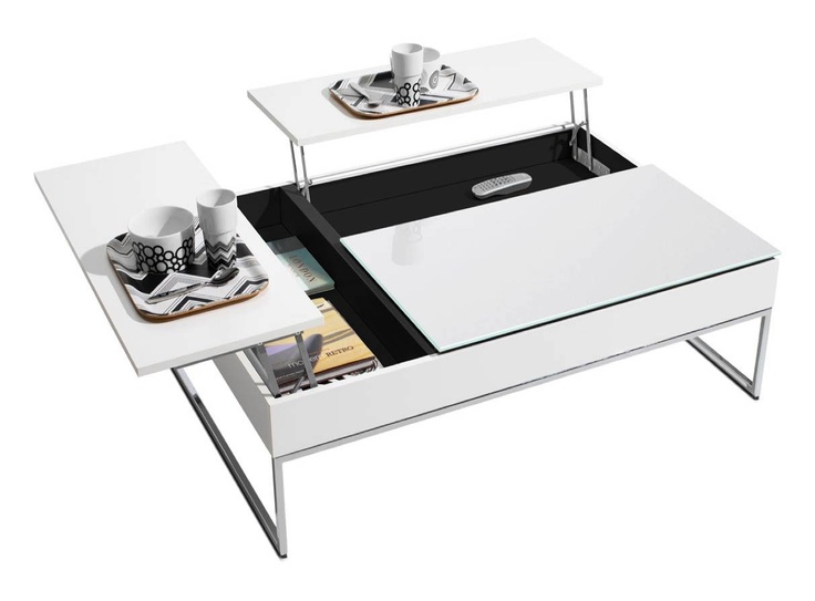 Mesas de centro modernas - BoConcept  €595,-  Mesa de centro con espacio de almacenamiento, laca blanca/cristal blanco/cromado. A32½/44½xL113½/135xF80/101½cm. [Occa - 68672]
