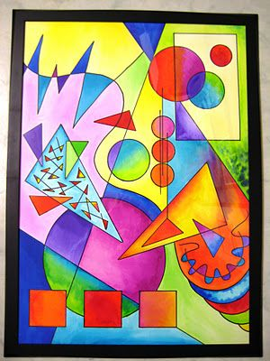 Kandinsky (tutorial).  Have ss trace blocks for shapes/ add lines.  Sharpie.  Use watercolour pencils and encourage gradient