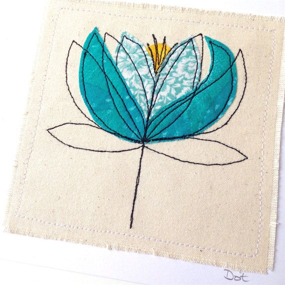 Water Lily greeting card- personalised textile art, embroidery fabric applique picture, Scandi, Nouveau, sympathy, Botanical, flower