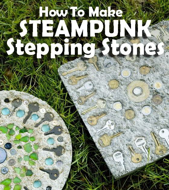 Steampunk Stepping Stones - Complete how to with step by step photos for a mosaic stepping stone for the backyard! Press found objects and flea market finds, like old keys, foreign coins, vintage buttons, metal washers, and glass marbles, into quick setting concrete. Fun craft to do outdoors!