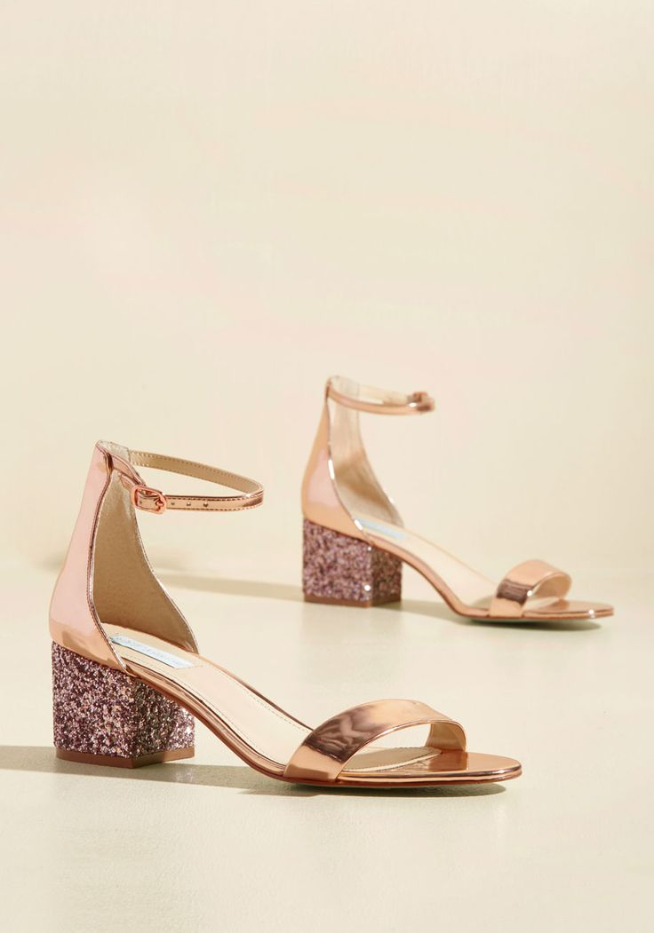 From the Luxe of It Heel by Blue by Betsey Johnson - Pink, Solid, Glitter, Special Occasion, Prom, Wedding, Party, Cocktail, Girls Night Out, Holiday Party, Bridesmaid, Bride, Homecoming, Wedding Guest, Luxe, Statement, Spring, Winter, Mid, Better, Chunky heel, Rose Gold, Metallic, Under 100 Gifts, Sparkly2015