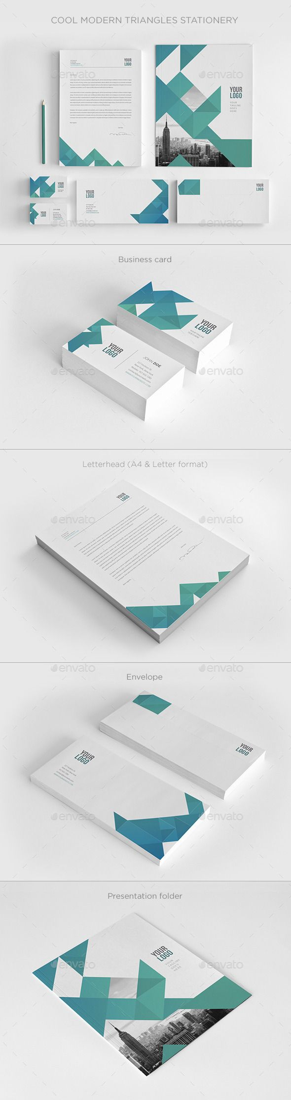 cool modern triangles stationery
