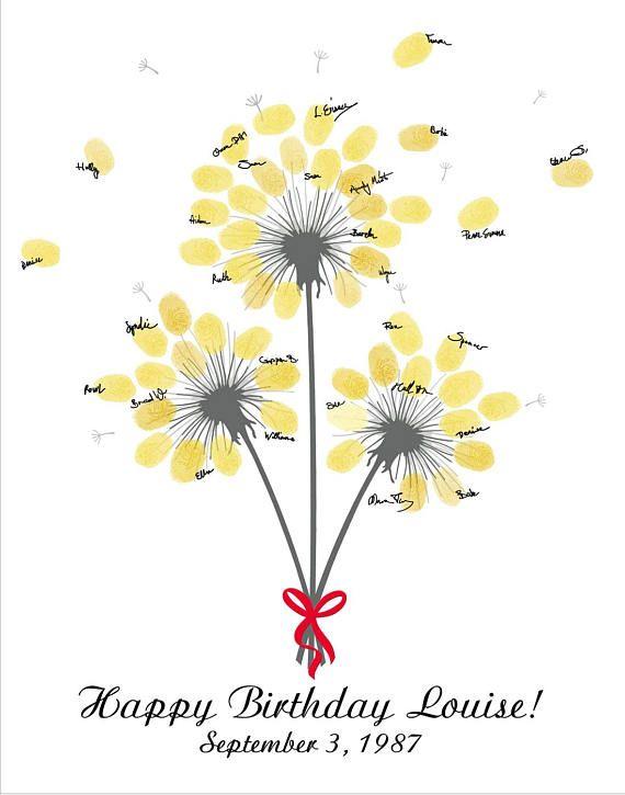 Personalisierte Geburtstag Gästebuch Alternative Printable