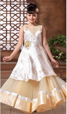 Ogg White & Cream Color with Mono Net, Satin Silk Fabric,  Exclusive Designer Kids Gowns | FHK13525682