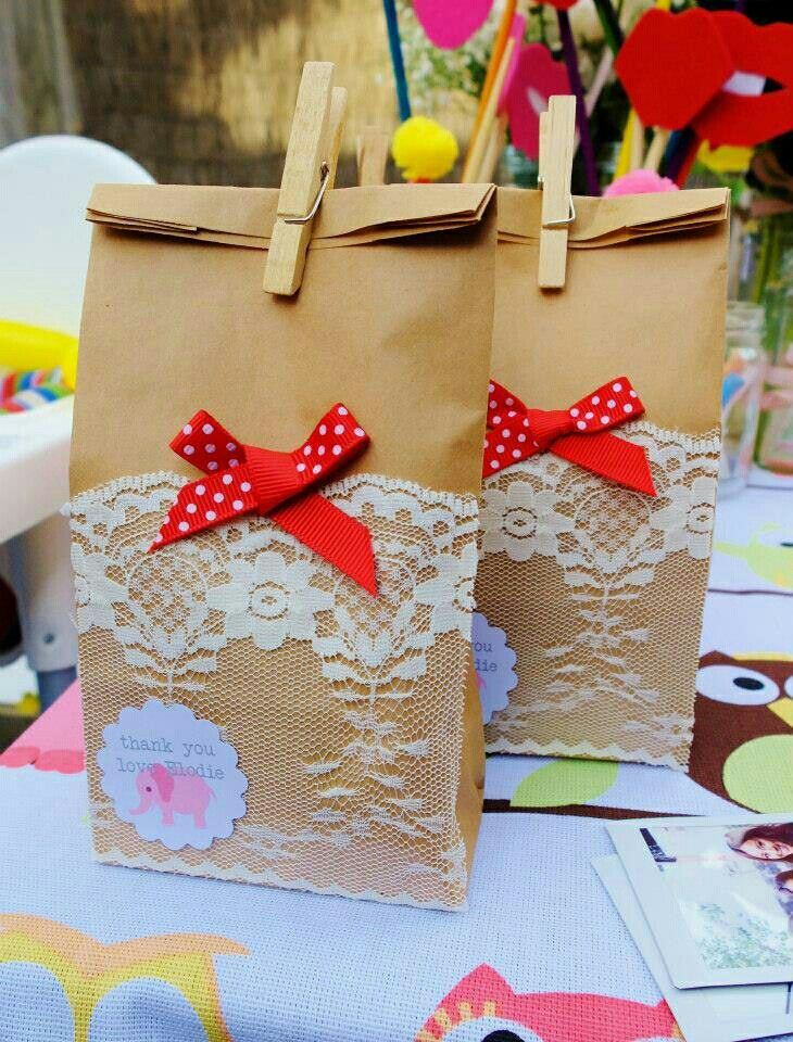 Lace and ribbon paper bag gift ideas