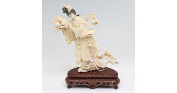 "Splendida statueta "" Kuan Yin "" - fildes & lemn - cca.1930 China"