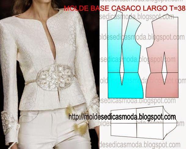 MOLDE BASE DE CASACO LARGO TAMANHO 38 - Moldes Moda por Medida