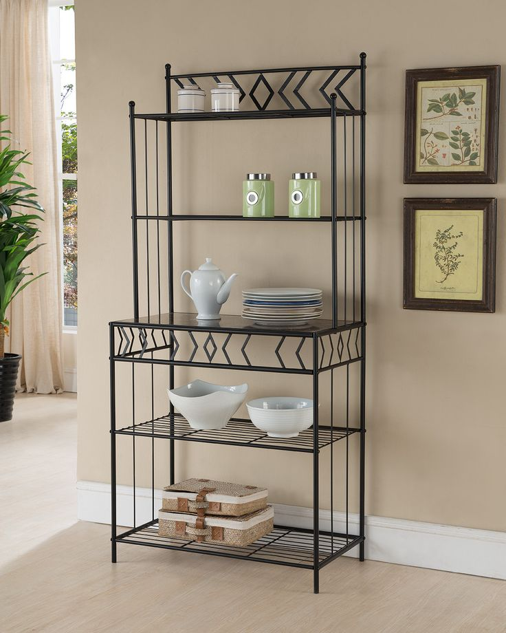 Black Metal 5 Tier Contemporary Kitchen Bakers Rack Stand With Shelves & Storage