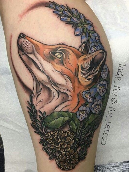 Fox with foxglove tattoo by IG: lady_fts