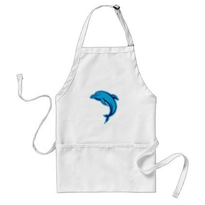 Blue Dolphin Jumping Retro Adult Apron - retro kitchen gifts vintage custom diy cyo personalize