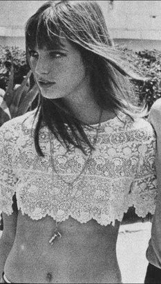 Jane Birkin is an icon. I love this look, undone hair, lace crop top, no bra, long necklace.