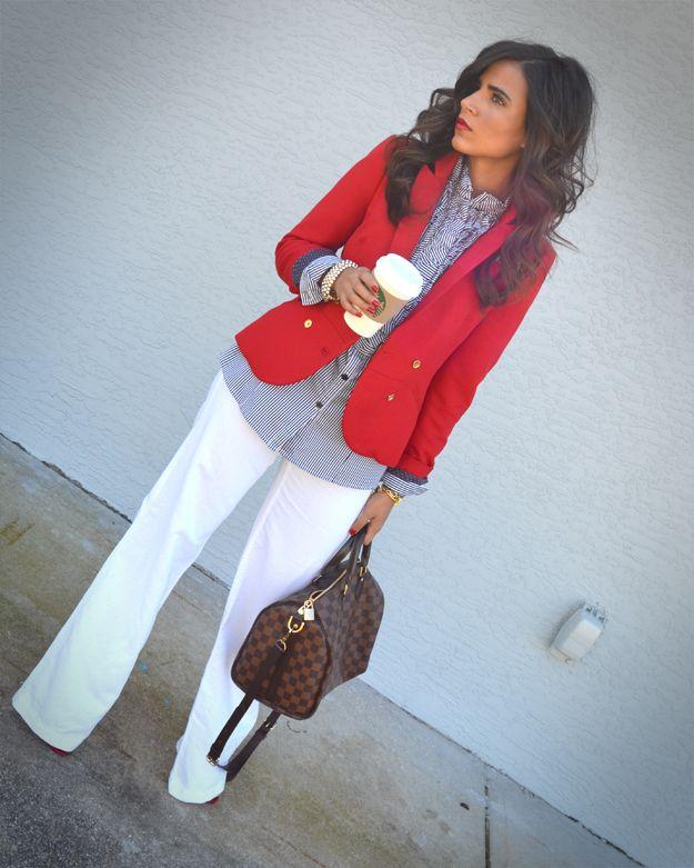 white trouser pants, navy/white gingham long sleeved blouse, red blazer, brown messenger bag