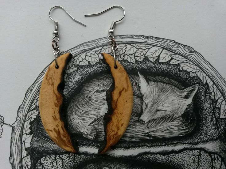 Crescent Moon Live Edge Earrings