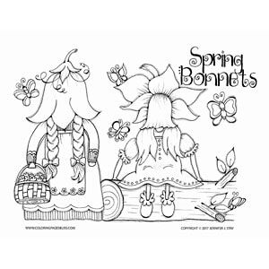 Spring Bonnets Coloring Page These Adorable Little Gnomes Are Ready For With Their Beautiful