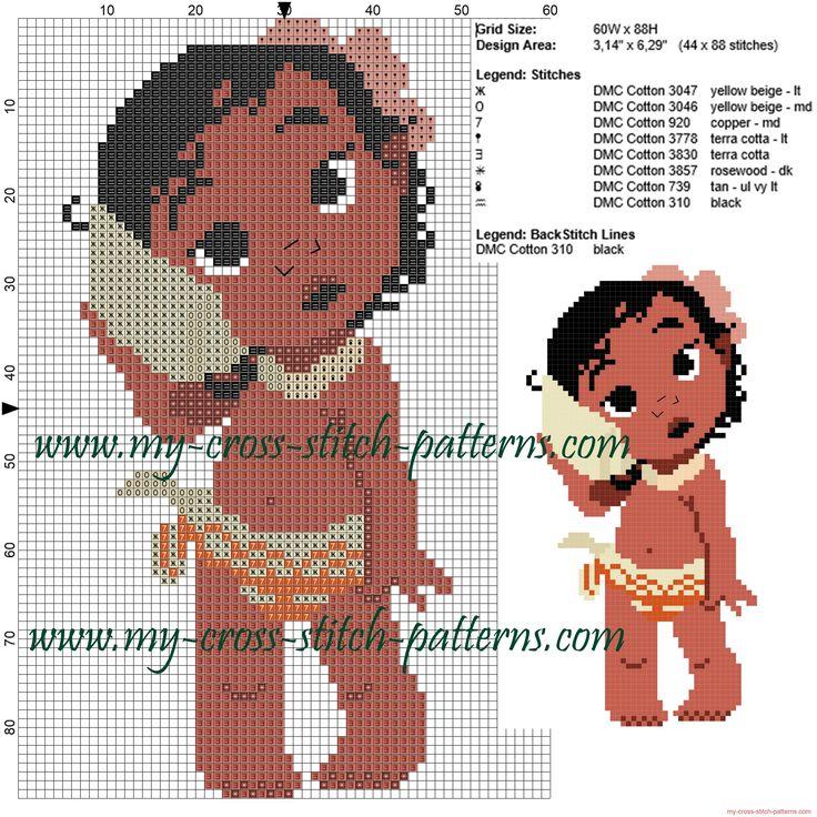 Baby Moana cross stitch pattern