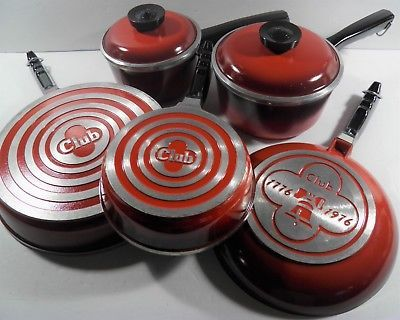 VINTAGE 7PC CLUB CAST ALUMINUM COOKWARE RED SAUCEPAN FRY PAN OMELET GENTLY USED!