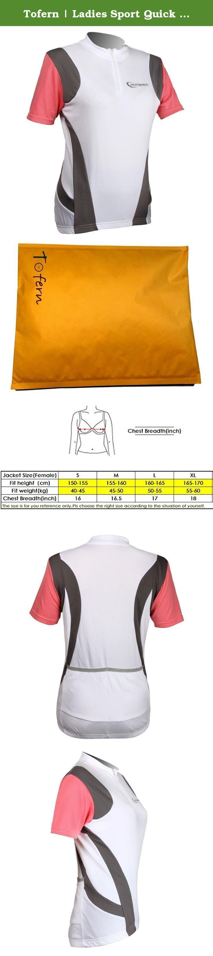 Tofern   Ladies Sport Quick Dry Short Sleeve T-Shirt Cycling Running T shirt - red - M. Original fashion design, fresh colored by Italian J-TECK paint Ergonomical designed, perfect suitable for Female sports Made by super lightweight breathable and quick dry material Lengthen rear hem , professional designed for cycling 2 rear pockets edged with reflective strips, for convenient storage and safty cycling/running 3 colors for selection: Blue, White, Red Package: 1 * sports T shirt Tofern is…